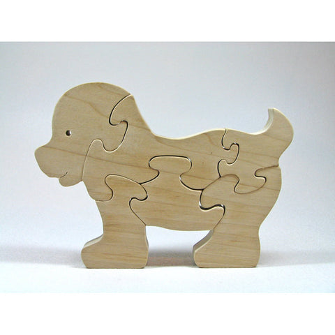 Wood Puzzle Natural Organic Safe Shaped Baby Dog Eco Friendly and Green for Toddlers and Children - Little Wooden Wonders