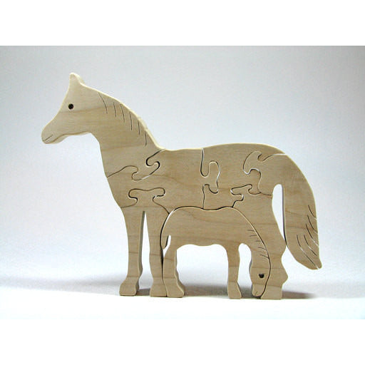 Wooden Animal Puzzle, Horse Animal Puzzle, Personalized Horse with Baby Nursery Decor, Baby Shower, Christmas Gift - Little Wooden Wonders