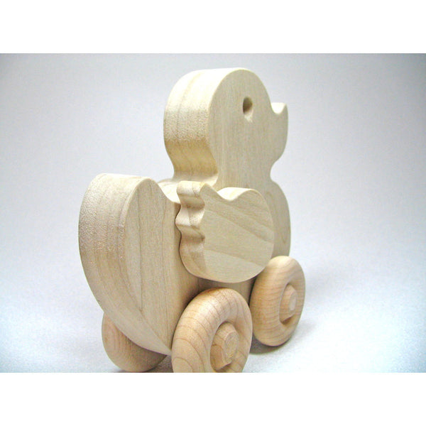 Wood Toy Duck Natural Unfinished Safe and Organic - Little Wooden Wonders