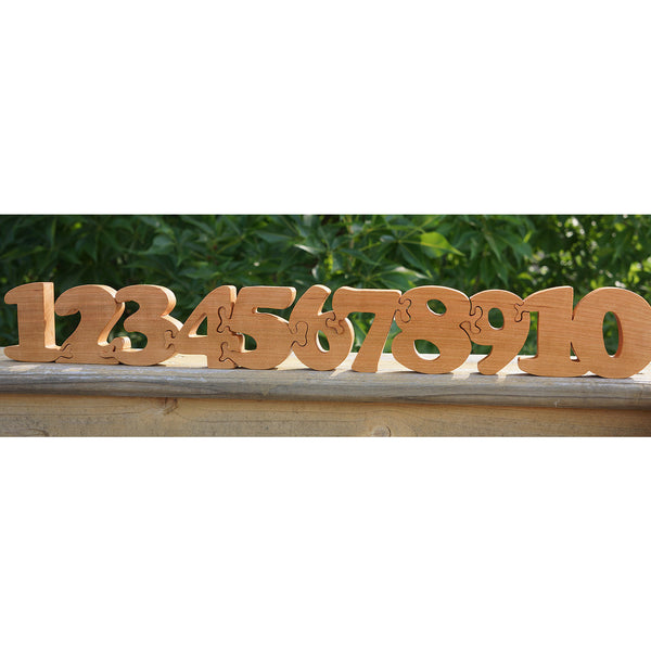 Number Puzzle Wooden Puzzle - Counting Custom Cut All Natural, Organic, and Eco Friendly - Little Wooden Wonders