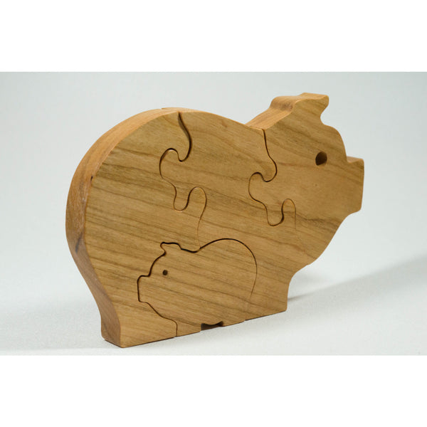 Pig Puzzle Wood Baby Pig Eco Friendly - Cherry Wood - Little Wooden Wonders