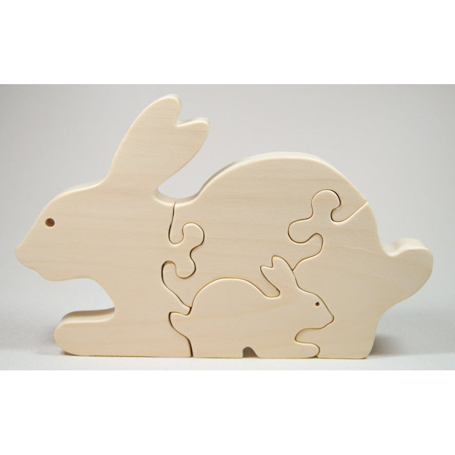 Wooden Puzzle Animal Bunny Puzzle Personalize - Nursery Decor Baby Shower Christmas - Little Wooden Wonders