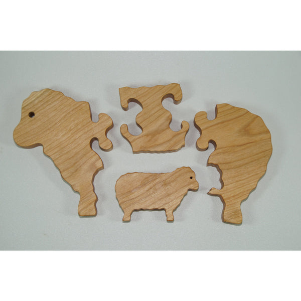 Sheep Puzzle Wood Baby Lamb Eco Friendly and Green for Toddlers and Children - Little Wooden Wonders