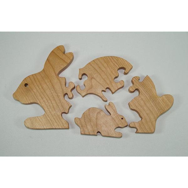Wooden Puzzle Bunny Puzzle Wood Baby Bunny Personalized for Toddlers and Children - Little Wooden Wonders