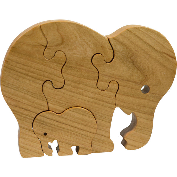 Wooden Puzzle Elephant with Baby Elephant for children and toddlers - Little Wooden Wonders