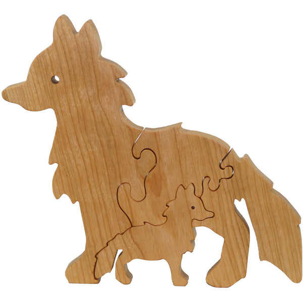 Fox Puzzle Wood Baby Fox Eco Friendly and Green for Toddlers and Children - Little Wooden Wonders