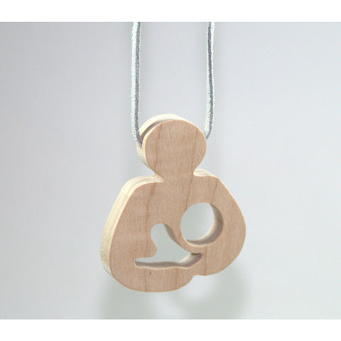 Breastfeeding Wooden Teether Necklace - Natural Le Leche Style - Little Wooden Wonders