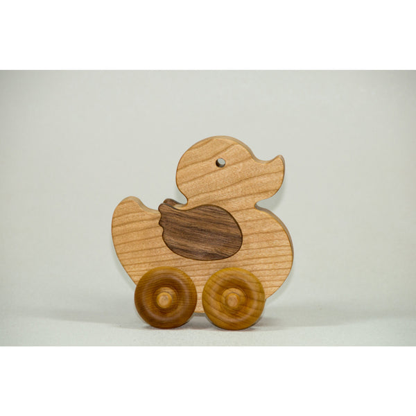 Wooden Toy Duck Wood Push Car Duckling Childrens Toy - Little Wooden Wonders