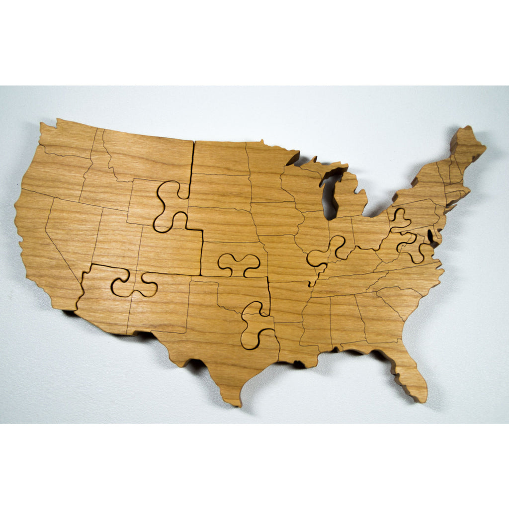 Wooden Puzzle United States Engraved Country Puzzle - Little Wooden Wonders