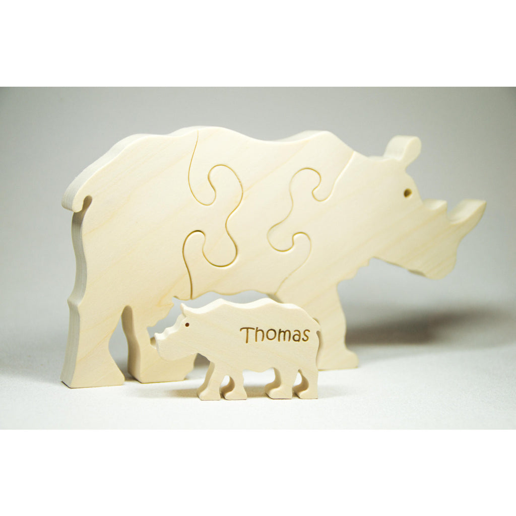 Rhinoceros Puzzle Wood Baby Rhino Eco Friendly and Green for Toddlers and Children - Little Wooden Wonders