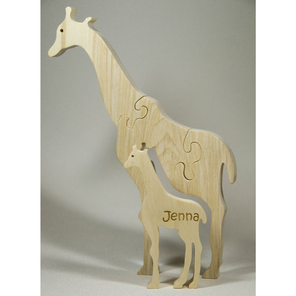 Giraffe Puzzle Wood Baby Giraffe Eco Friendly and Green for Toddlers and Children - Little Wooden Wonders