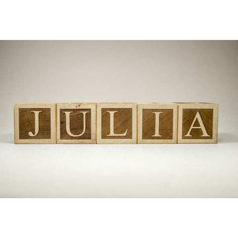 Personalized Wood Name Blocks Letter Custom Blocks for Nursery, baby shower, christmas - Little Wooden Wonders