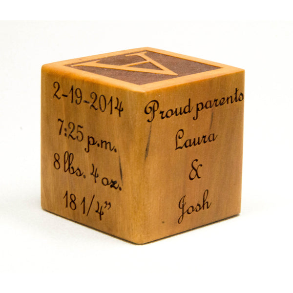 Wooden Baby Block, 2 inch block, Personalized for Babies, Newborns, Birthday, Baptism Gift Custom Engraved - Little Wooden Wonders