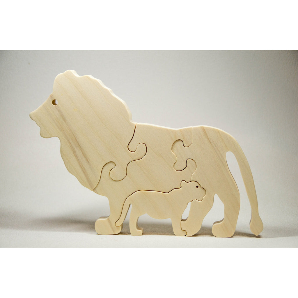 Wooden Animal Puzzle Lion Personalize for Nursery Decor, Baby Shower, Christmas - Little Wooden Wonders