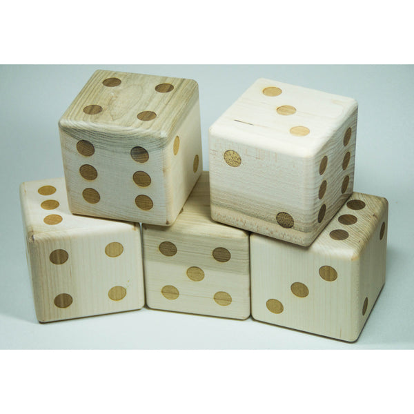 Lawn Dice Backyard Game with 5 3 inch laser engraved wooden dice - Little Wooden Wonders