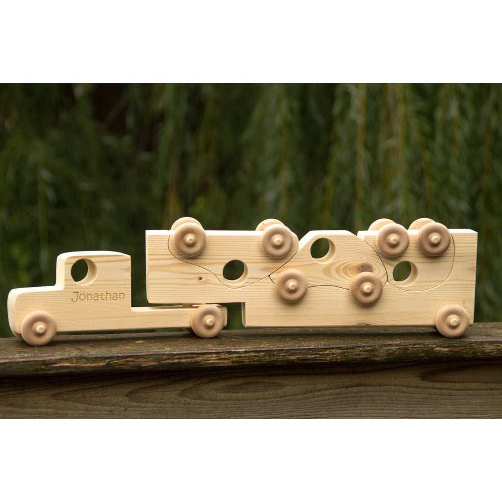 Wooden Toy Truck with Toy Cars - Personalized Toy - Semi Trailer Push Toy for Children and Toddlers - Little Wooden Wonders