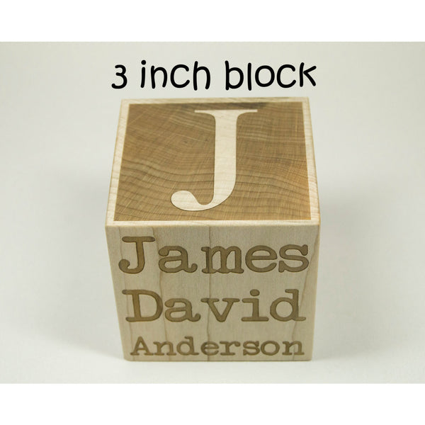 Baby Block, 3 inch Wooden Baby Block Personalized Wood Block For Newborn Birthday Baptism Nursery Baby Shower Gift - Custom Engraved - Little Wooden Wonders