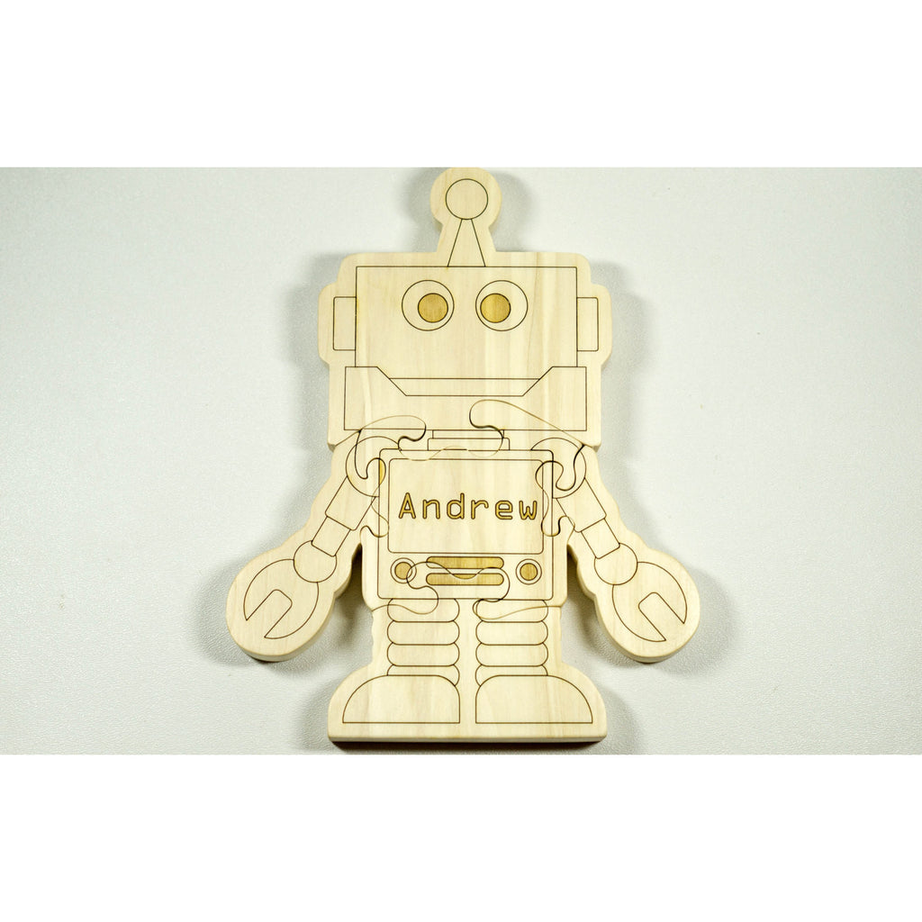 Wooden Puzzle Robot Shaped Personalized for Boys and Girls - Little Wooden Wonders