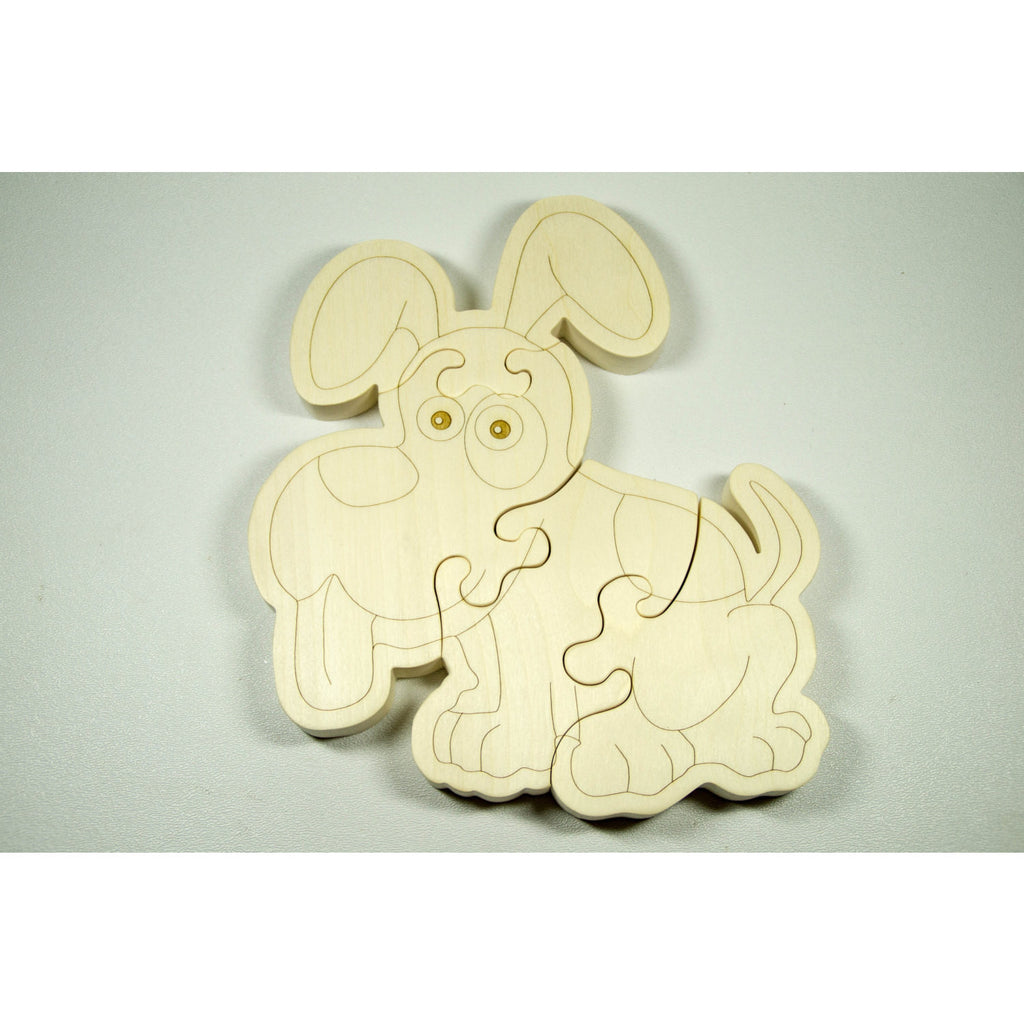 Wooden Puzzle Puppy Dog Shaped Personalized for Boys and Girls - Little Wooden Wonders