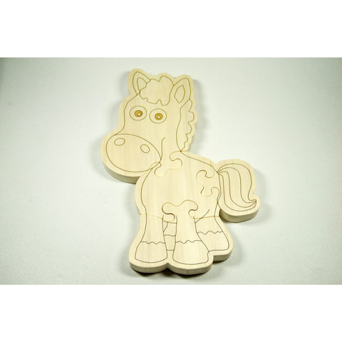 Wooden Puzzle Horse Shaped Personalized for Boys and Girls - Little Wooden Wonders