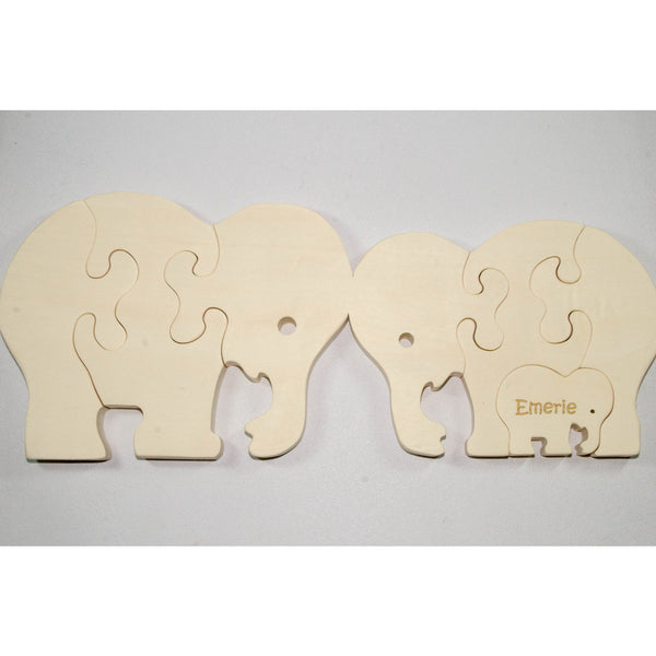 Wooden Puzzle Elephant Family with baby Gift for Toddlers and Children Personalized name - Little Wooden Wonders