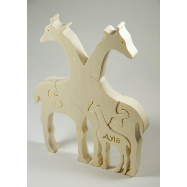 Wooden Puzzle Giraffe Family Puzzle with Baby Personalized Childrens Toys and Baby Toy - Little Wooden Wonders