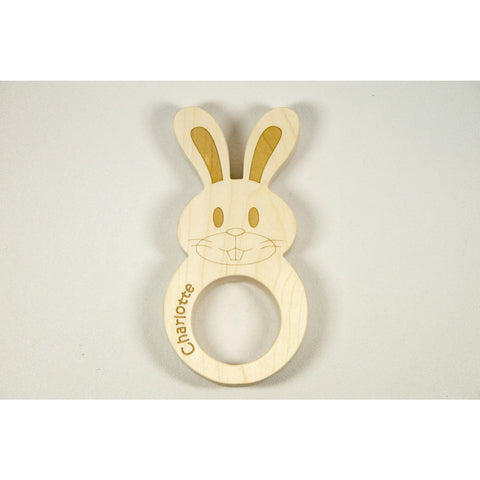 Wooden Baby Teether  Bunny Shaped for Easter Personalized for FREE - Little Wooden Wonders