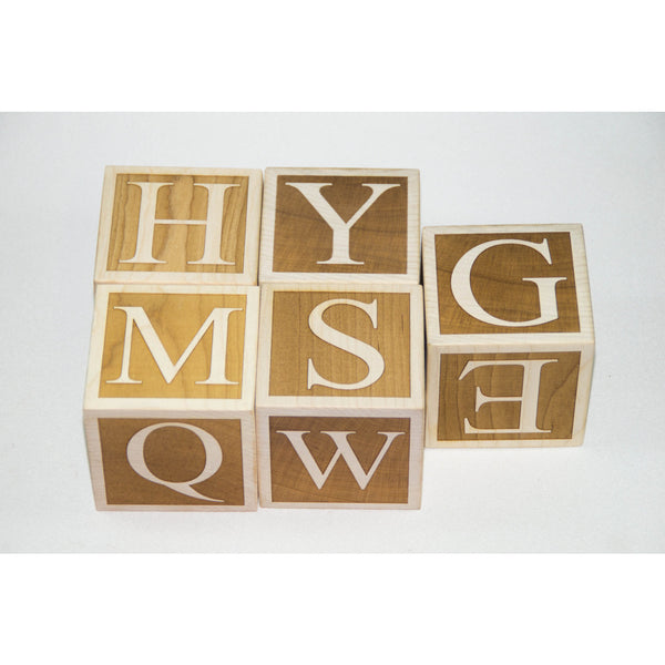 Wooden Alphabet Blocks Baby Blocks 3 inch blocks for Baby Shower, Nursery Decor, Photo Prop - Little Wooden Wonders