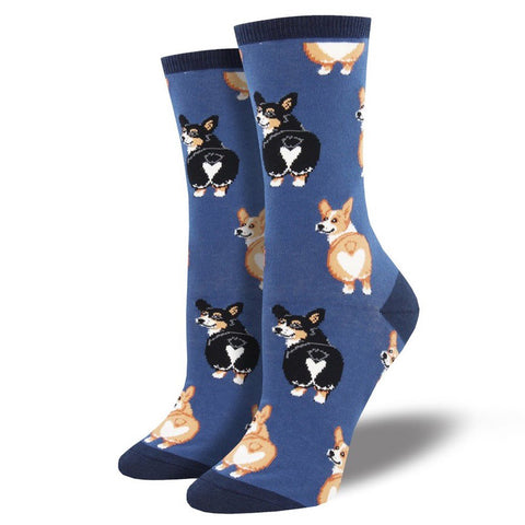 Women's Corgi Butt Crew Socks Blue
