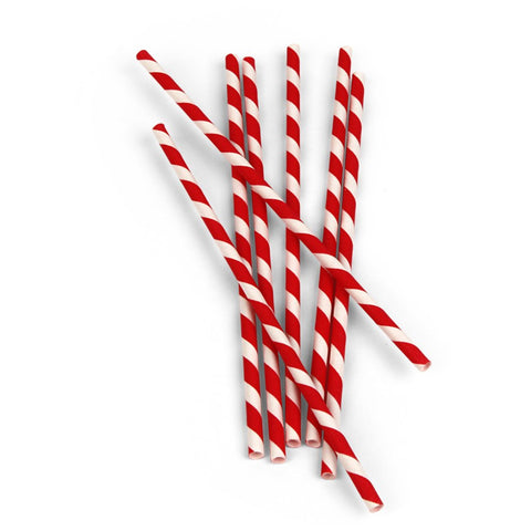 Paper Straws Box Of 144 Red And White