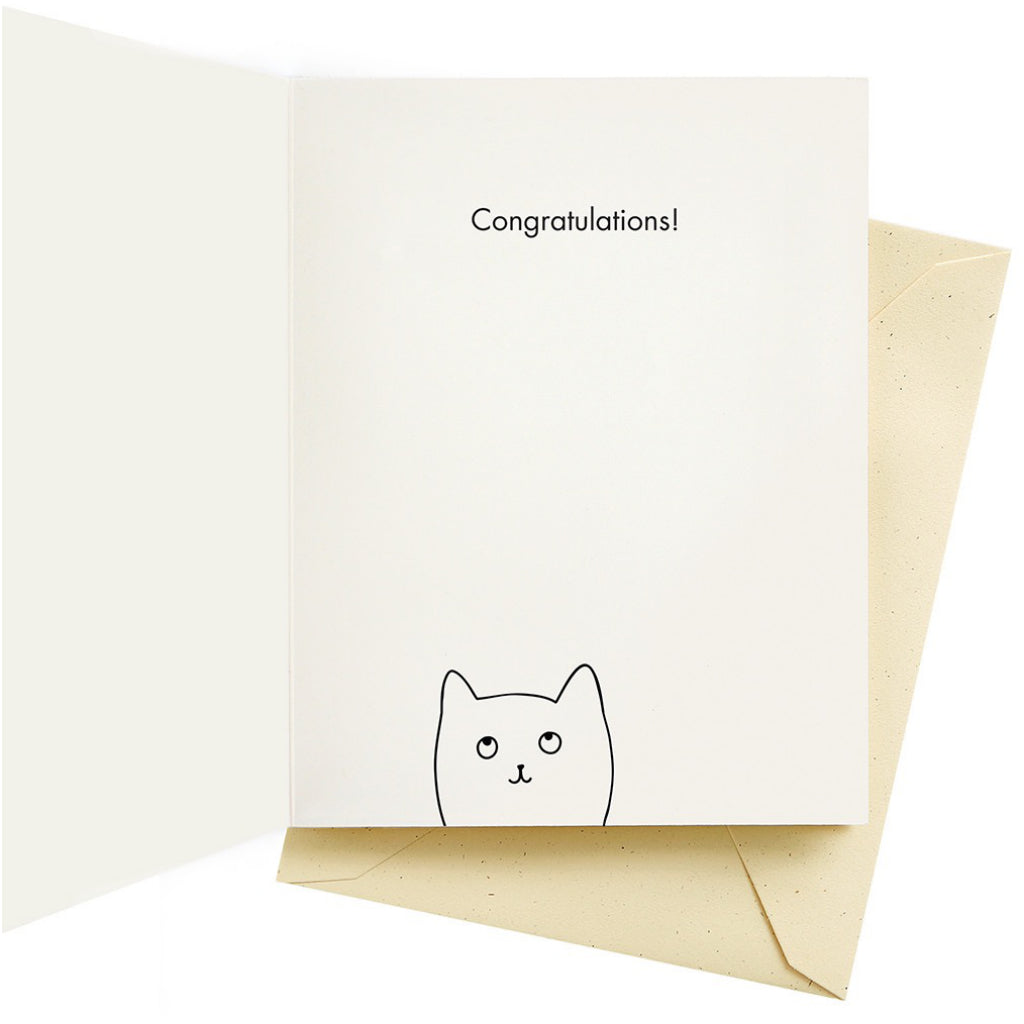 A Big Cat On The Back Congrats Card Inside