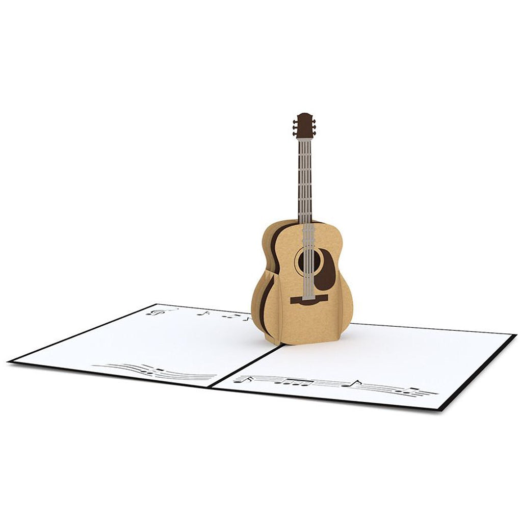 Acoustic Guitar 3D Pop Up Card Open