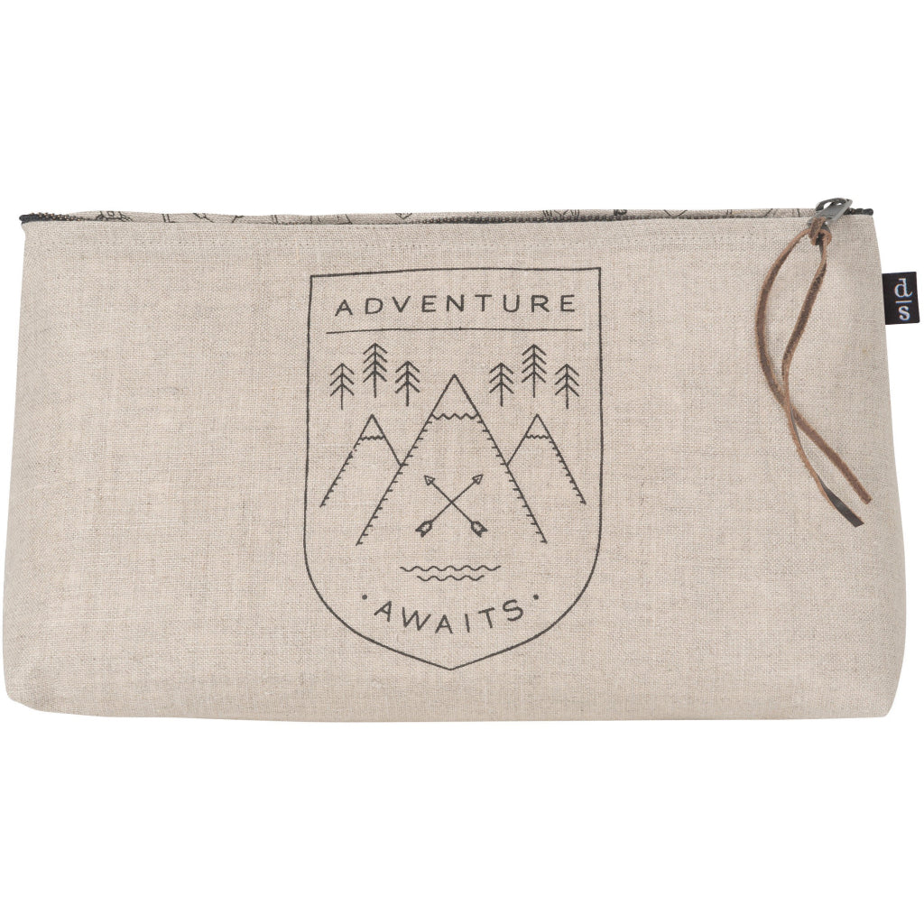 Adventure Awaits Linen Cosmetic Bag Large.