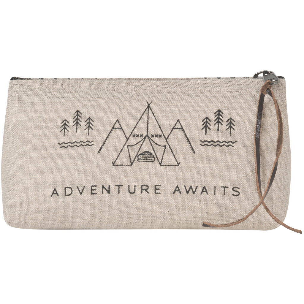 Adventure Awaits Linen Cosmetic Bag Pencil.