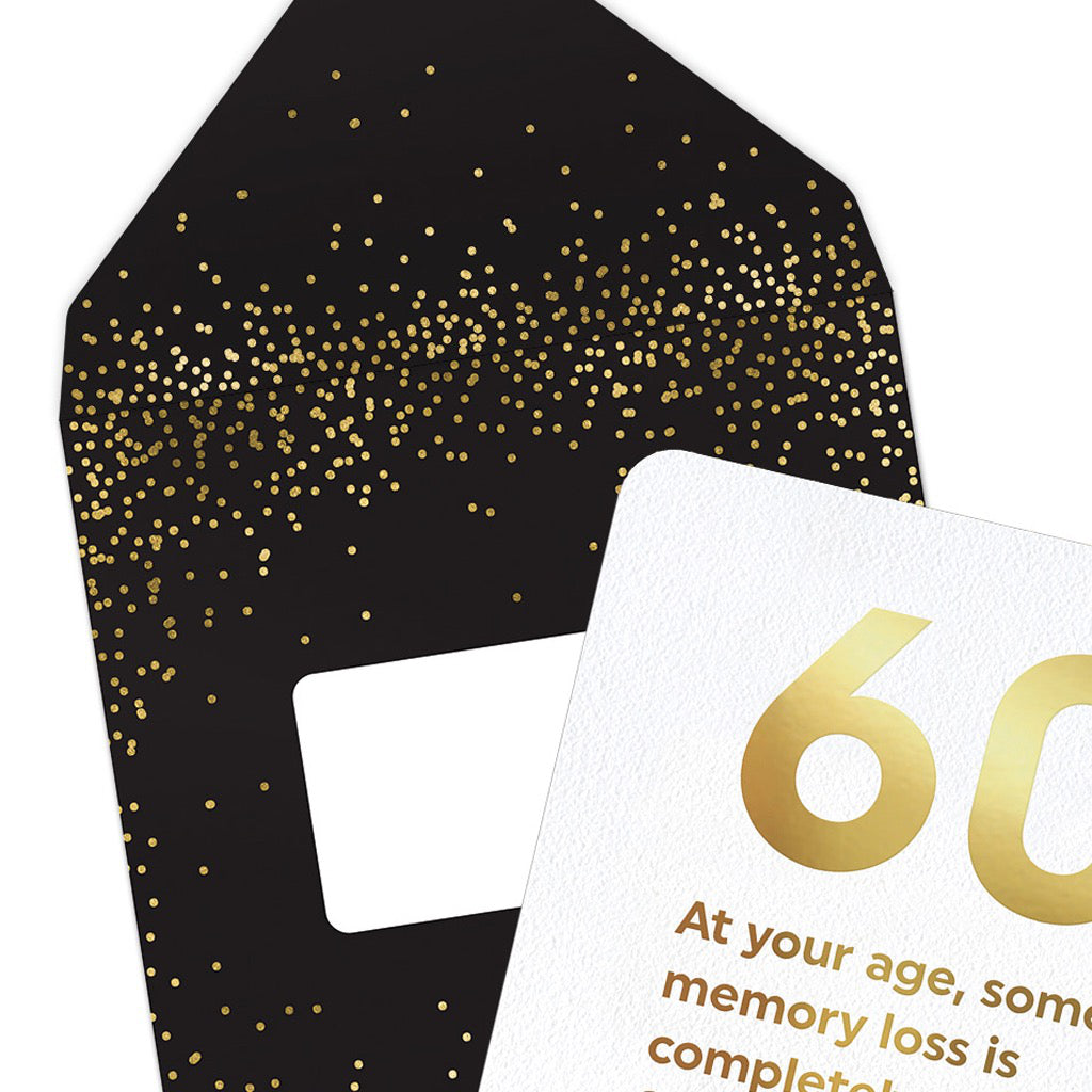Close up of Age 60 Memory Loss Card.