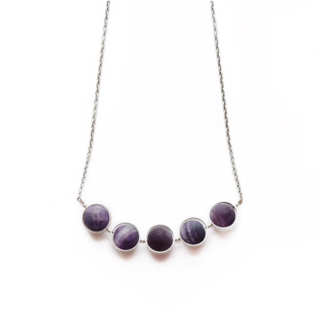 Alignment Amethyst 18 Inch Necklace Silver