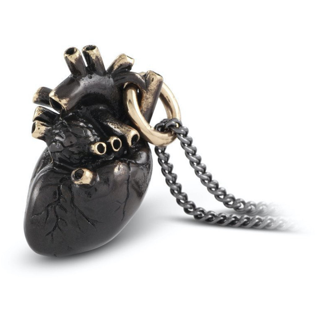 Anatomical Heart Large Black Bronze Necklace Close up