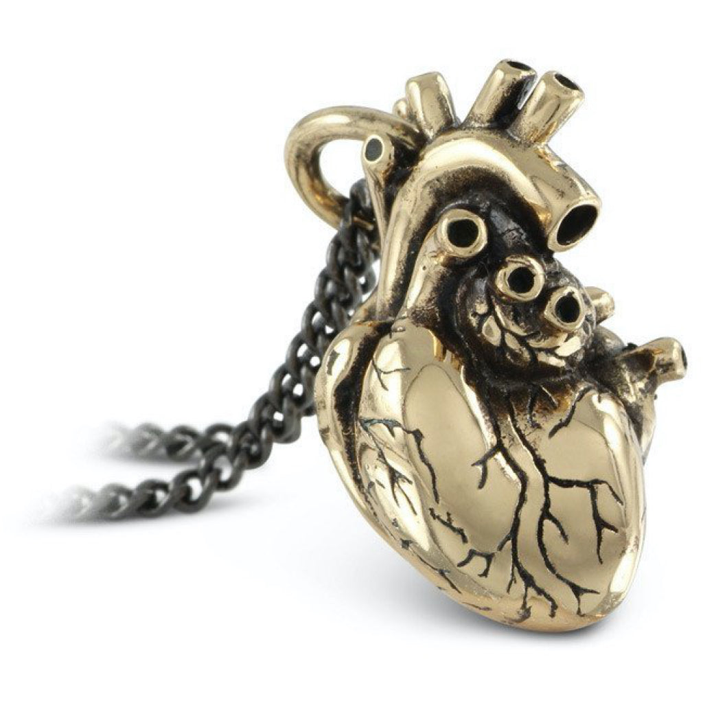 Anatomical Heart Large Bronze Necklace Close up