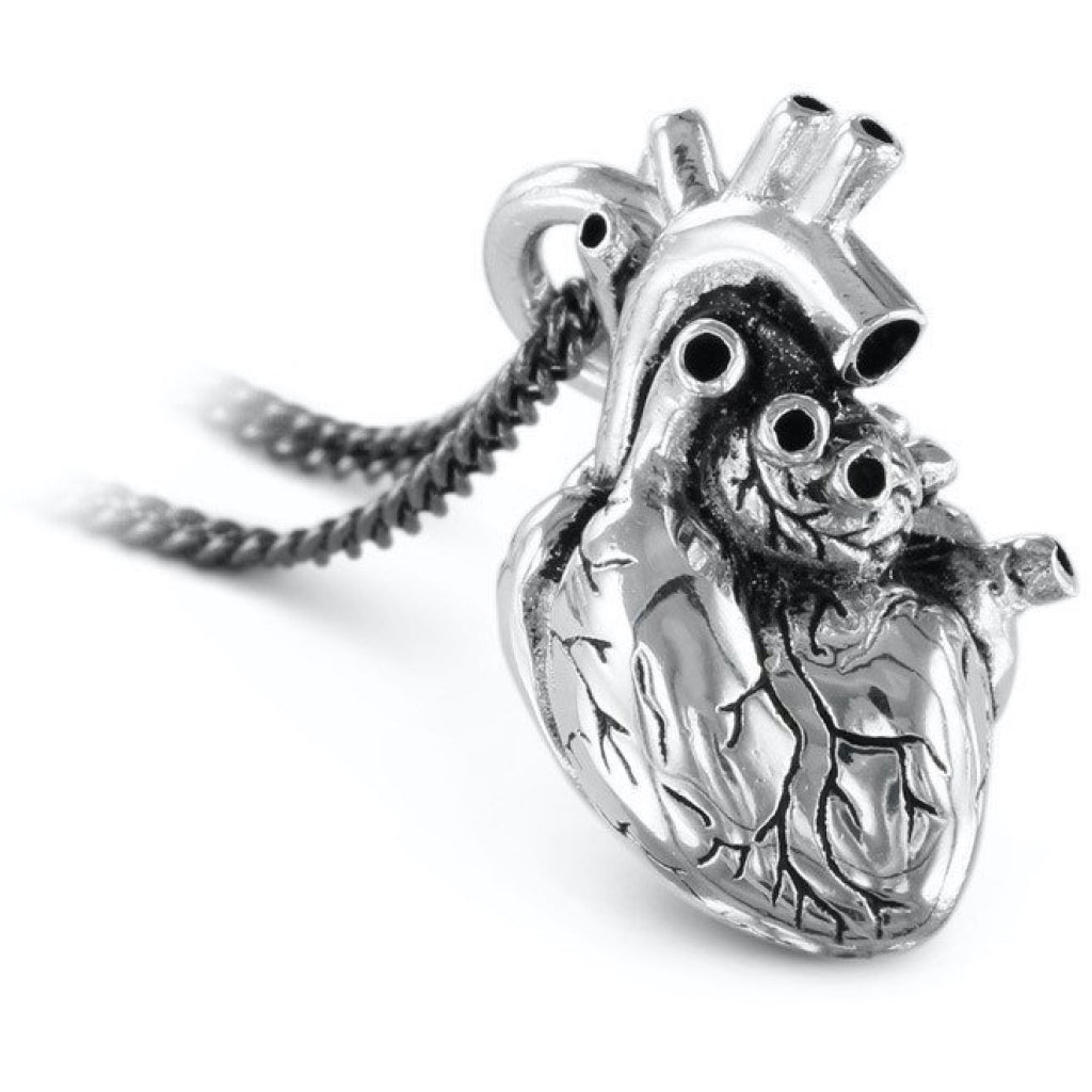 Anatomical Heart Large Silver Necklace Closeup