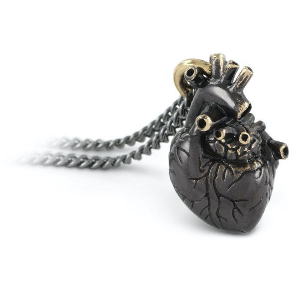 Anatomical Heart Small Black Bronze Necklace Closeup