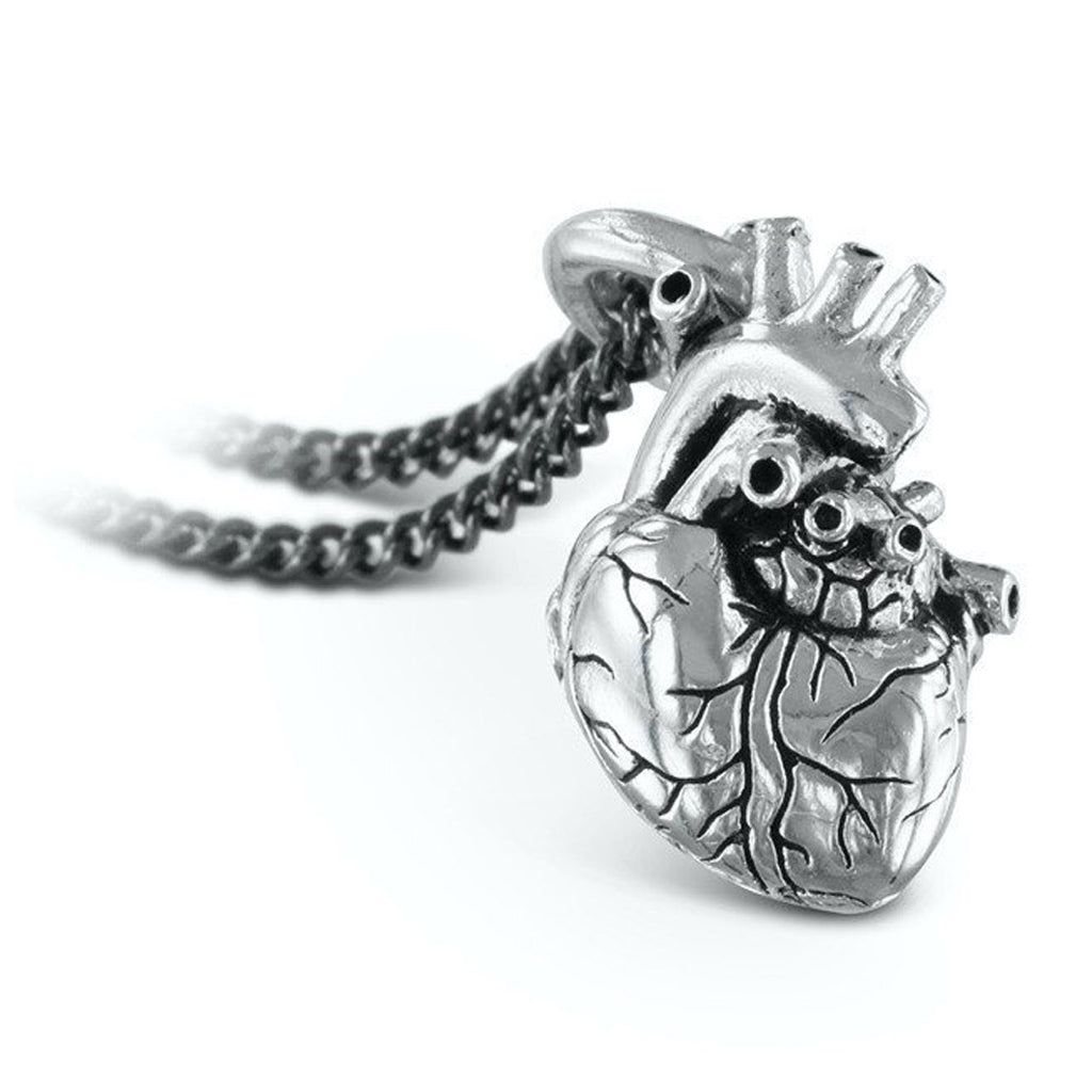 Anatomical Heart Small Silver Necklace Close up
