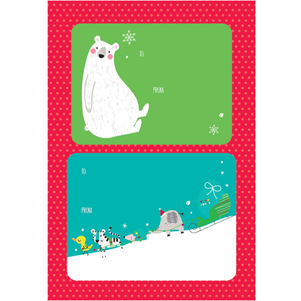 Animal Christmas gift labels