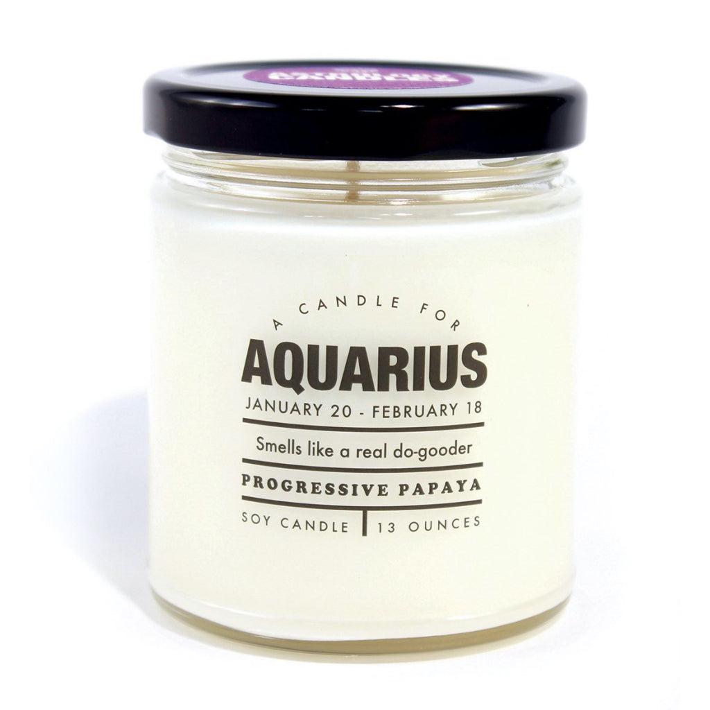 Astrology Candle - Aquarius Front