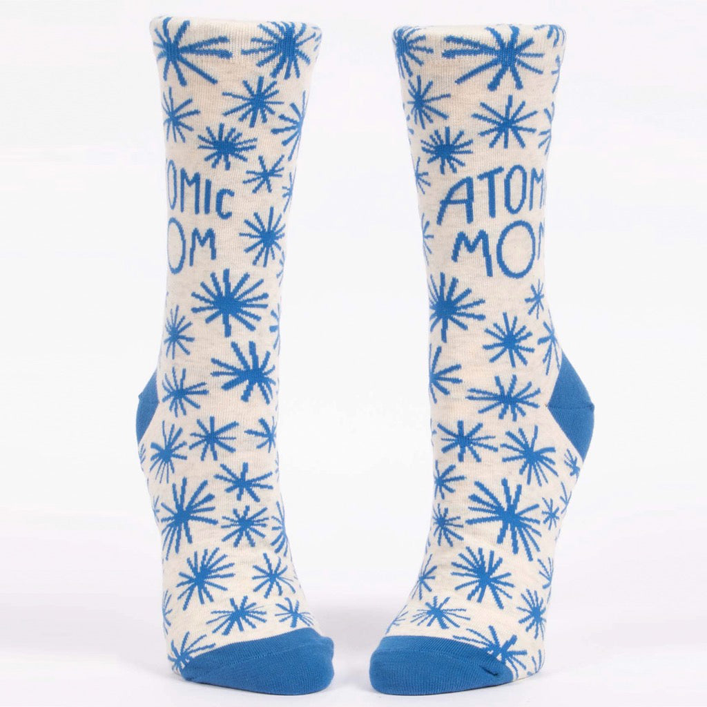 Front view of Atomic Mom Crew Socks.