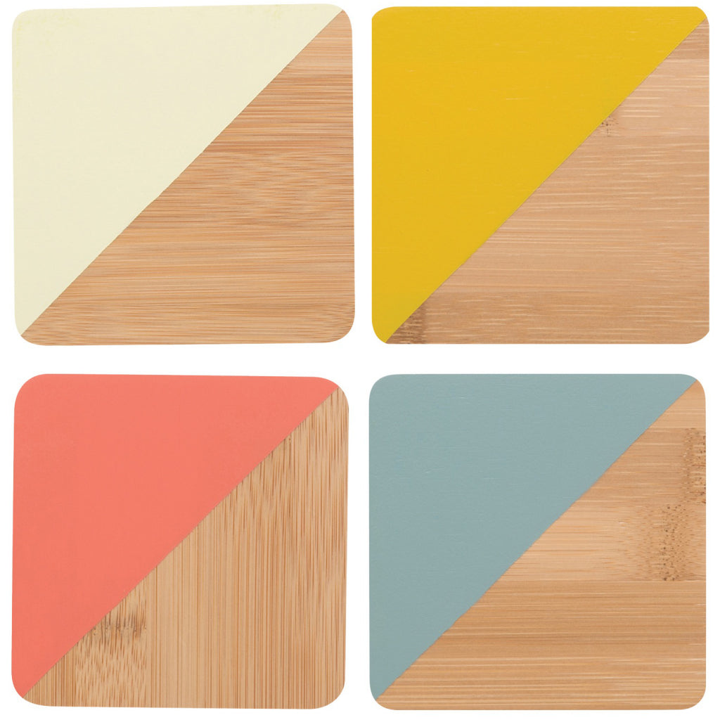 Bamboo Angle Dipped Coasters Sienna Set of 4