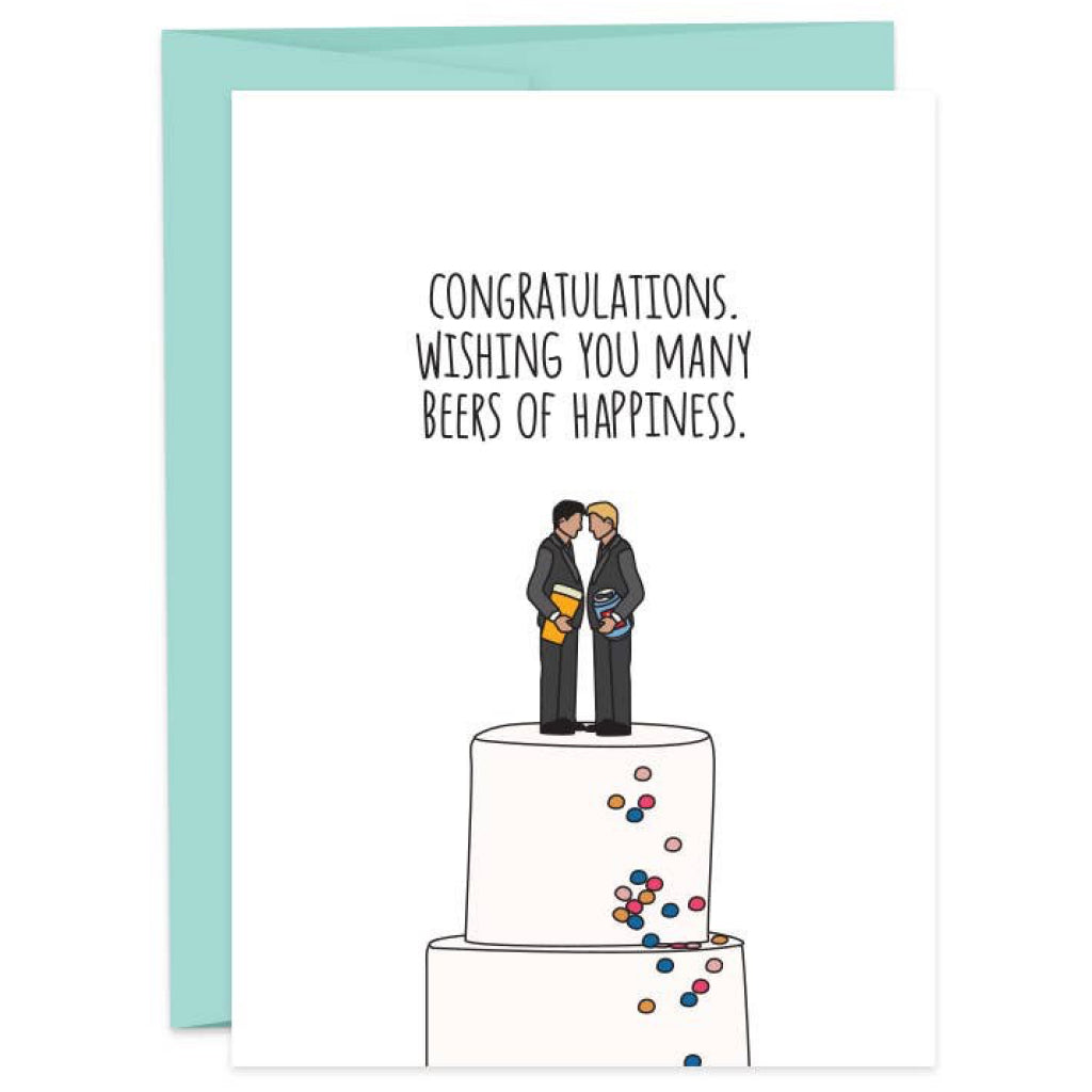 Beers of Happiness He/He Wedding Card