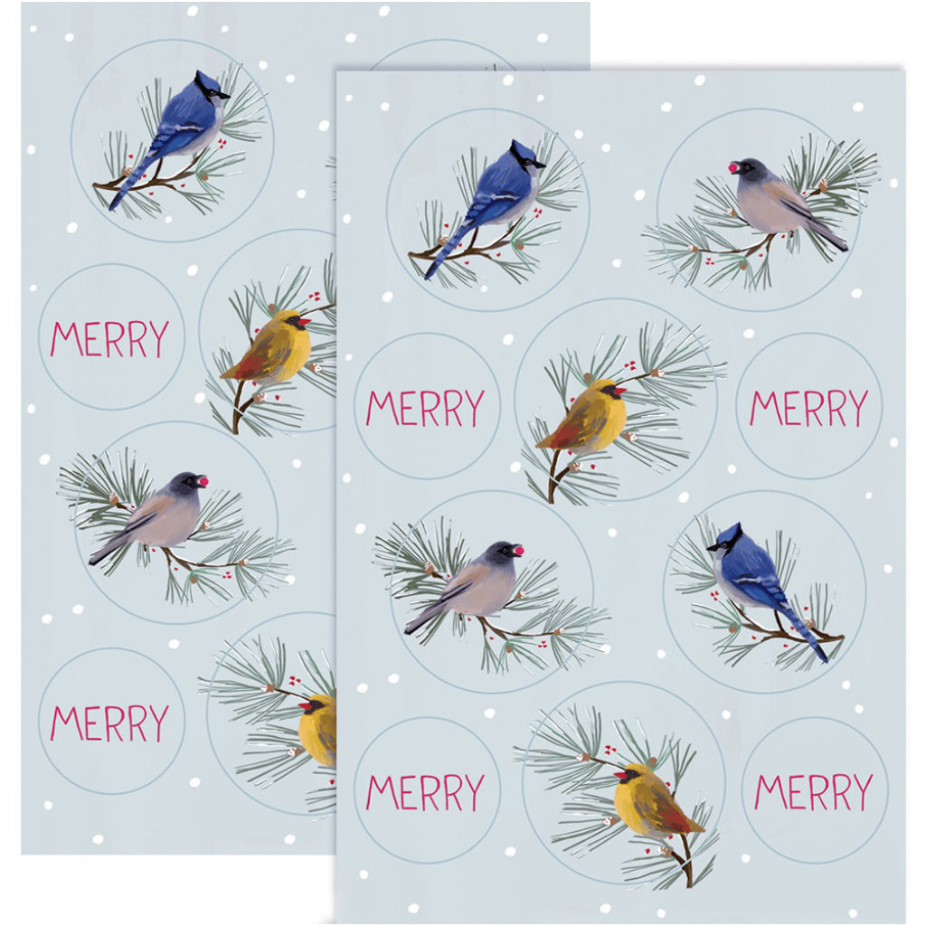 Birds All Around Boxed Christmas Cards Stickers