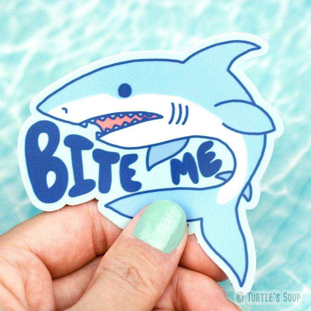 Bite Me Shark Sticker