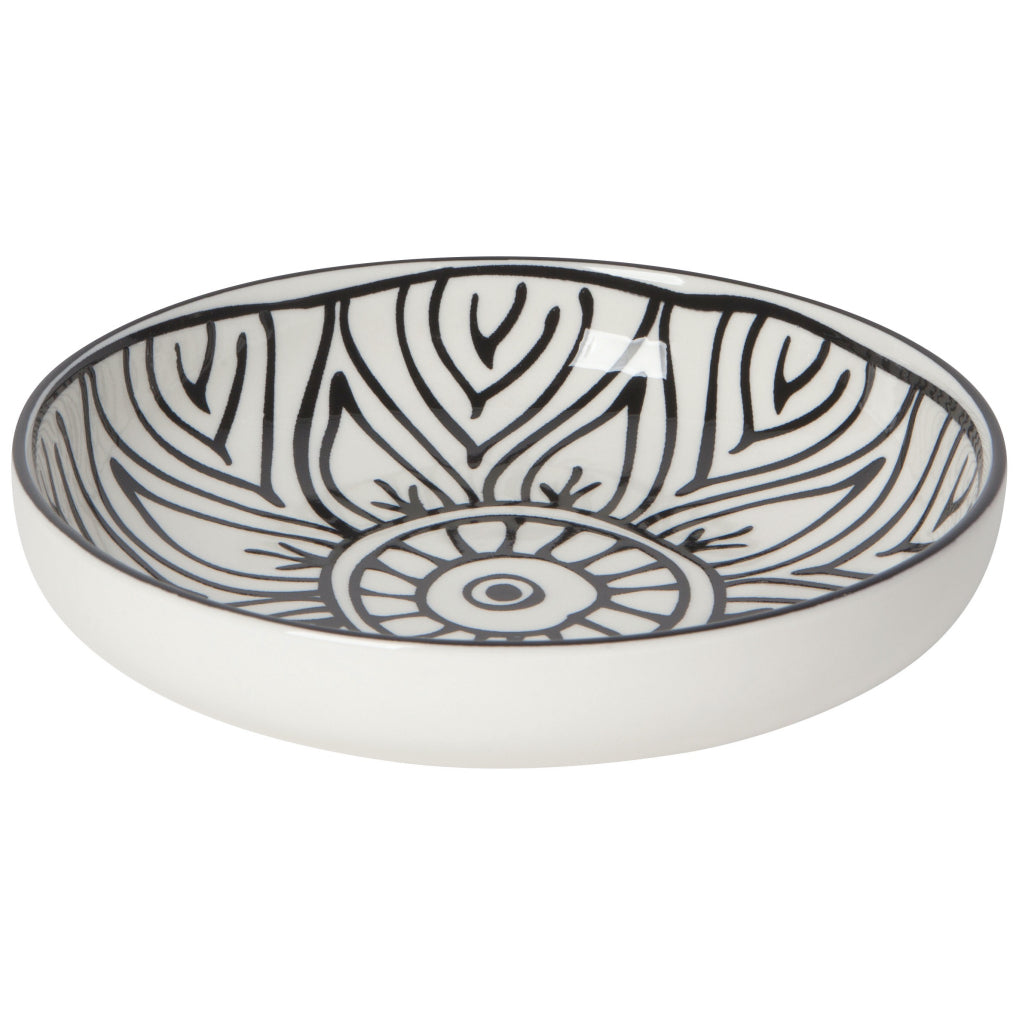 Black Bloom Shallow Bowl