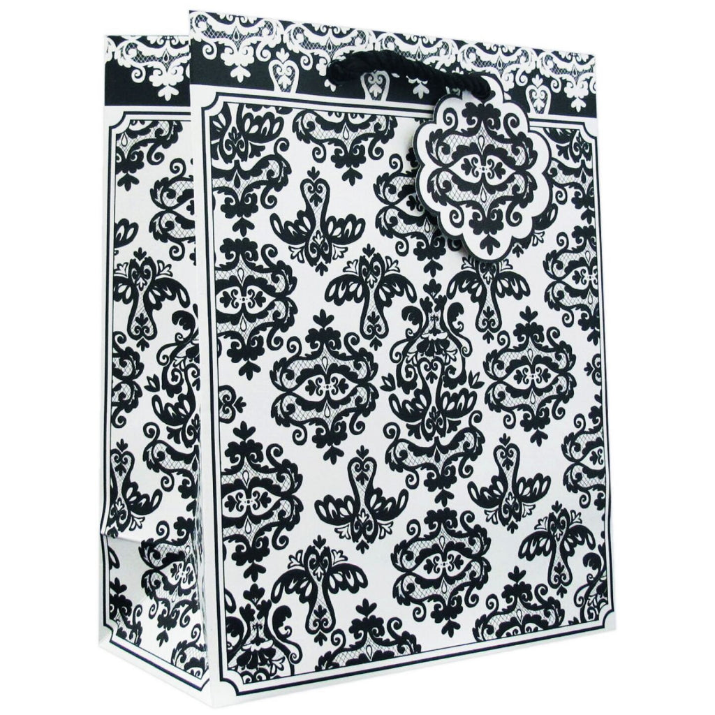 Black Damask Medium Tote